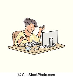 学校, モニター, モデル, 勉強, ノートブックコンピュータ, 学生, 強調された, テーブル, 女の子, online.