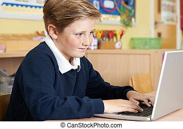 学校, ラップトップ・コンピュータ, 生徒, 基本, 使うこと, マレ, クラス