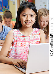 学校, ラップトップ・コンピュータ, 生徒, 女性, 基本, 使うこと, クラス