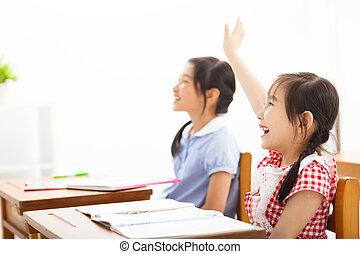 学校, 上げられた, クラス, 手, 子供, 幸せ