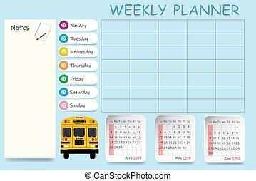 学校, 二番目に, 2019, カレンダー, 四分の一, 毎週
