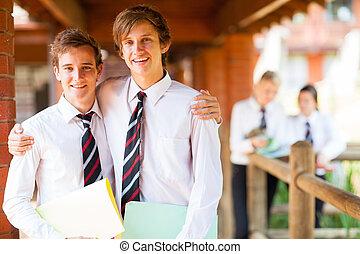 学校, 二, 高, 肖像, 男性, 朋友