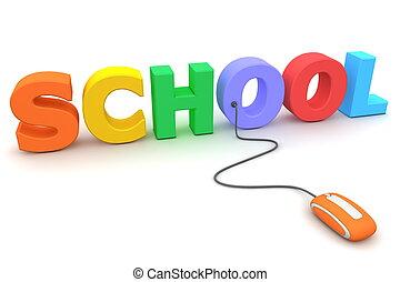 学校, 何気なく見回しなさい, マウス, -, オレンジ, カラフルである