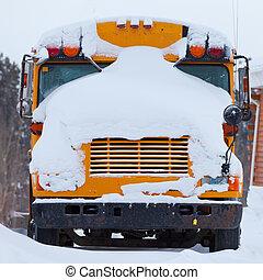 学校, 冬, ブリザード, バス, カバー, 雪, 駐車される