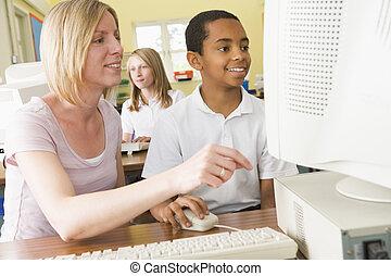 学校, 勉強, 女生徒, コンピュータ, 前部, 教師