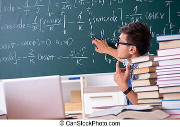 学校, 勉強, 若い, 学生, マレ, 数学