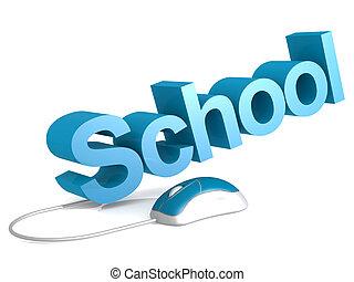 学校, 単語, ∥で∥, 青, マウス