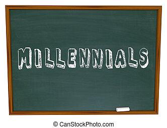 学校, 単語, 人々, 世代, 若い, millennials, 黒板, educa