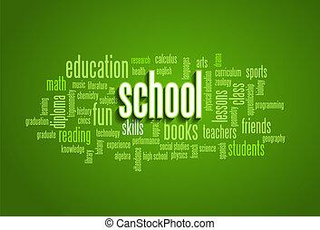 学校, 単語, 雲, 泡, タグ, 木