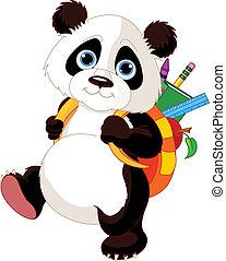 学校, 去, 漂亮, 熊猫