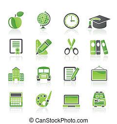 学校, 同时,, 教育, 图标