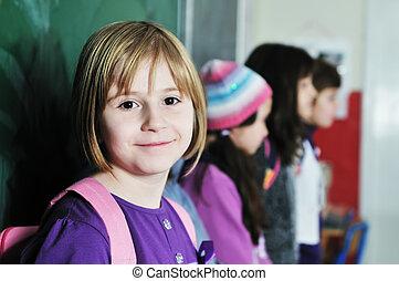 学校, 团体, 孩子, 开心