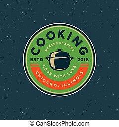 学校, 型, 料理, イラスト, emblem., 料理の, ベクトル, レトロ, スタイルを作られる, クラス, logo.
