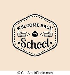 学校, 型, 背中, 印, ベクトル, レトロ, label., icon., 教育, pencil., 子供