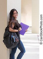 学校, 女, バックパック, 若い, つなぎ, アジア人, 学生, キャンパス, 魅力的