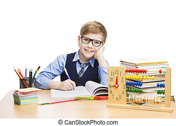 学校, 子供, 生徒, 教育, 生徒, 男の子, 中に, ガラス, 学びなさい