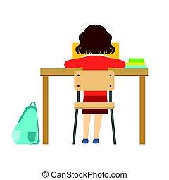 学校, 学者, モデル, シリーズ, 机, 生活, 本, 部分, minimalistic, イラスト, 女の子の読書, 教室