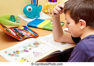 学校, 宿題, 男の子