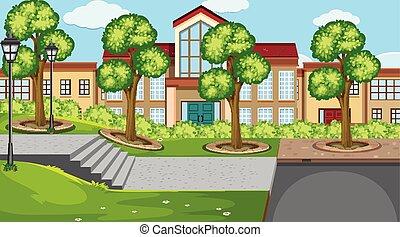 学校, 屋外, 現場