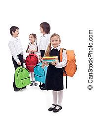 学校, 幸せ, グループ, 子供