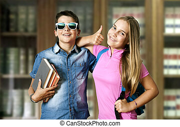 学校, 幸せ, 恋人, 子供