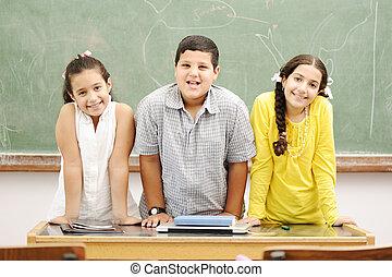 学校, 幸せ, 教室, 子供