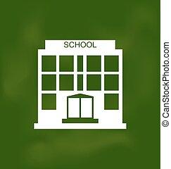 学校, 建物, ペイントされた, ∥で∥, チョーク, 上に, 黒板