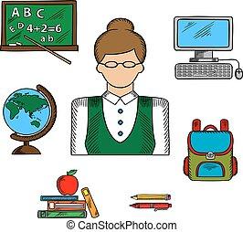 学校, 教育, 専門職, 教師, アイコン