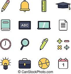 学校, 教育, 関係した, アイコン