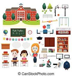 学校, 教育, 関係した, 要素, infographics