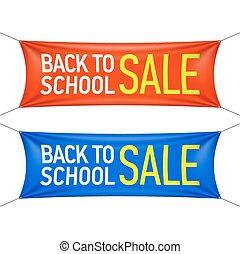 学校, 旗, 背中, セール
