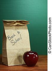学校 昼食, 袋, モデル, 上に, 教師の机