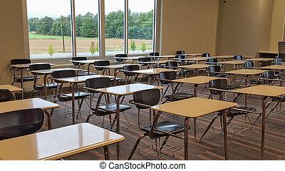 学校, 机, 中に, 高校, 教室