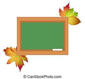 学校, 板, 白, 背景, ∥で∥, チョーク, そして, 秋, leaves., blackboard., 背中, へ, school., ベクトル, illustration.