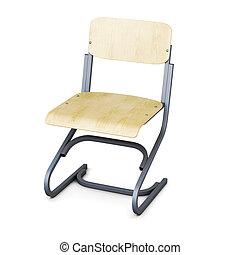 学校, 椅子, 隔離された, 白, バックグラウンド。, 3d, render, イメージ