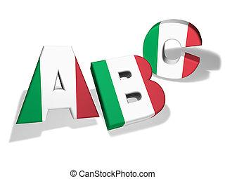 学校, 概念,  abc, イタリア語