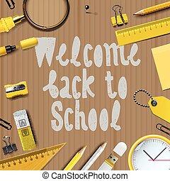 学校, 歓迎, 背中, テンプレート