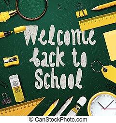 学校, 歓迎, 背中, 背景