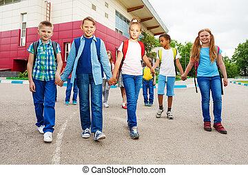 学校, 歩きなさい, 届きなさい, リュックサック, 子供, 幸せ