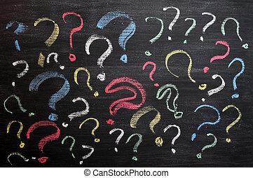 学校, 決定, 混乱, concept., faq, 質問, 手, チョーク, chalkboard., 他, 黒,...