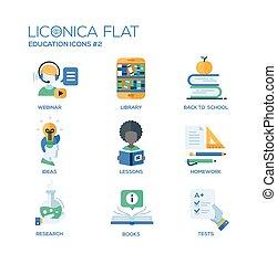 学校, 現代, アイコン, pictograms, デザイン, 薄いライン, 教育