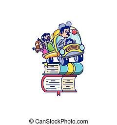 学校, 生徒, バスの運転手, 図書館, 本, 山