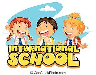 学校, 生徒, ポスター, 3, デザイン, インターナショナル