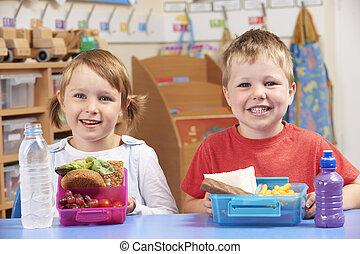 学校, 生徒, 健康に良い昼食, 箱, 基本, 不健康