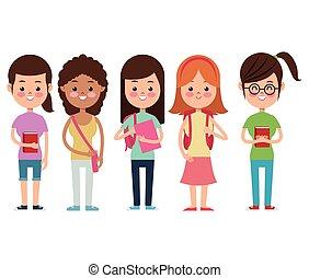学校, 生徒, 友達, 女の子, 背中, 微笑