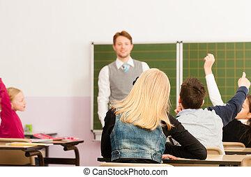 学校,  -, 生徒, 教授, 教育, 教師