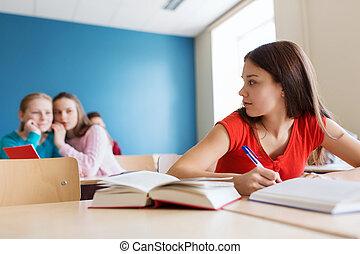 学校, 生徒, 背中, の後ろ, 同級生, gossiping