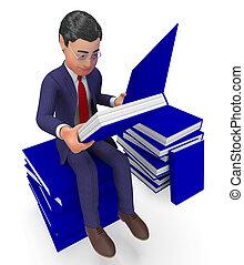 学校, 知識, 手段, 勉強しなさい, 本, ビジネスマン, 読書