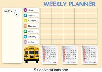 学校, 第3, 2019, カレンダー, 四分の一, 毎週