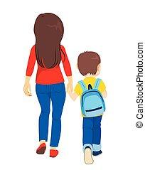 学校, 背中, お母さん, 息子